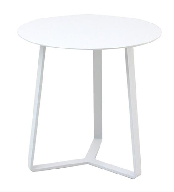 Mesa auxiliar apollo redonda aluminio blanco 57x60