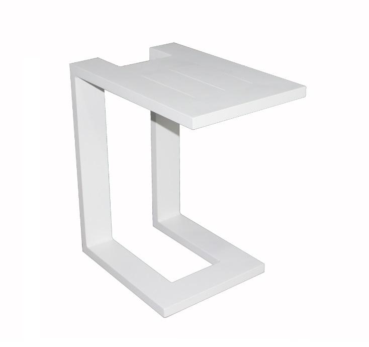 Mesa auxiliar para tumbona sofa aluminio blanco