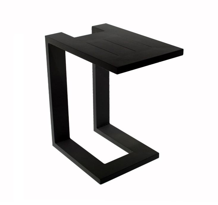 Mesa auxiliar para tumbona o sofa aluminio negro