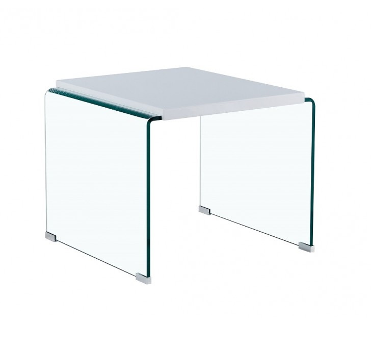 Mesa auxiliar canada cristal lacado blanco brillo 60x63