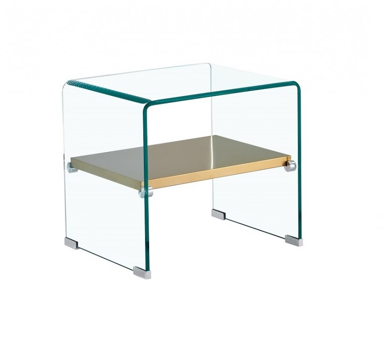 Mesa auxiliar gold cristal balda acero inox dorado 50x40