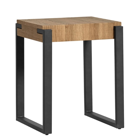 Mesa auxiliar Melody industrial roble metal negro 40x44x51