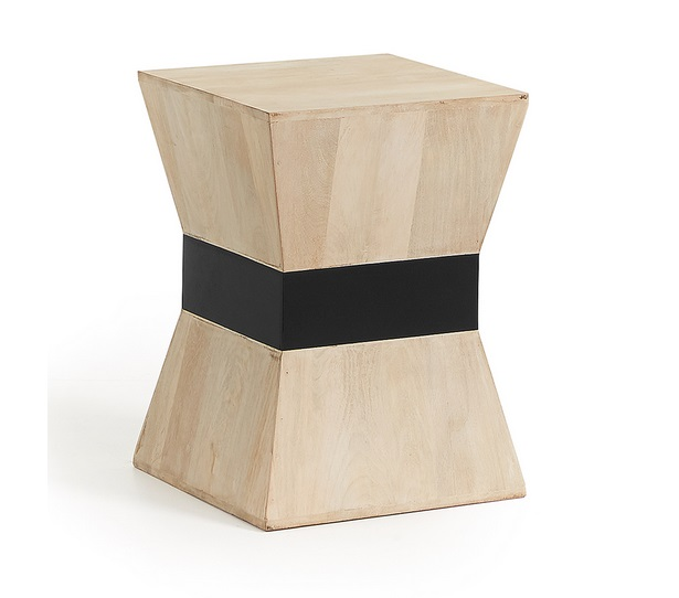 Mesa auxiliar madera mango natural 35x35