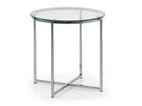 Mesa auxiliar redonda acero cristal