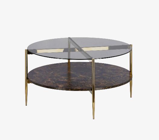 Mesa de centro Amanda de cristal y madera con efecto mármol 84 cm