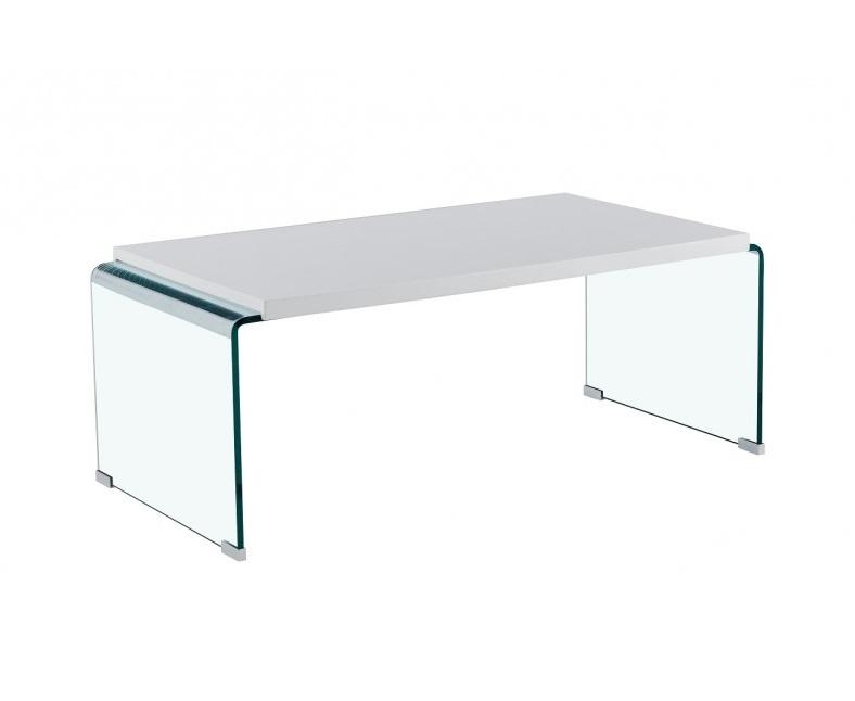 Mesa de centro canada cristal lacado blanco brillo 110x55
