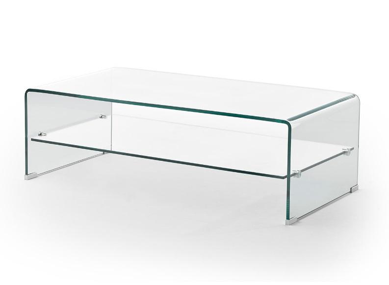 Mesa de centro cristal con balda 110x55