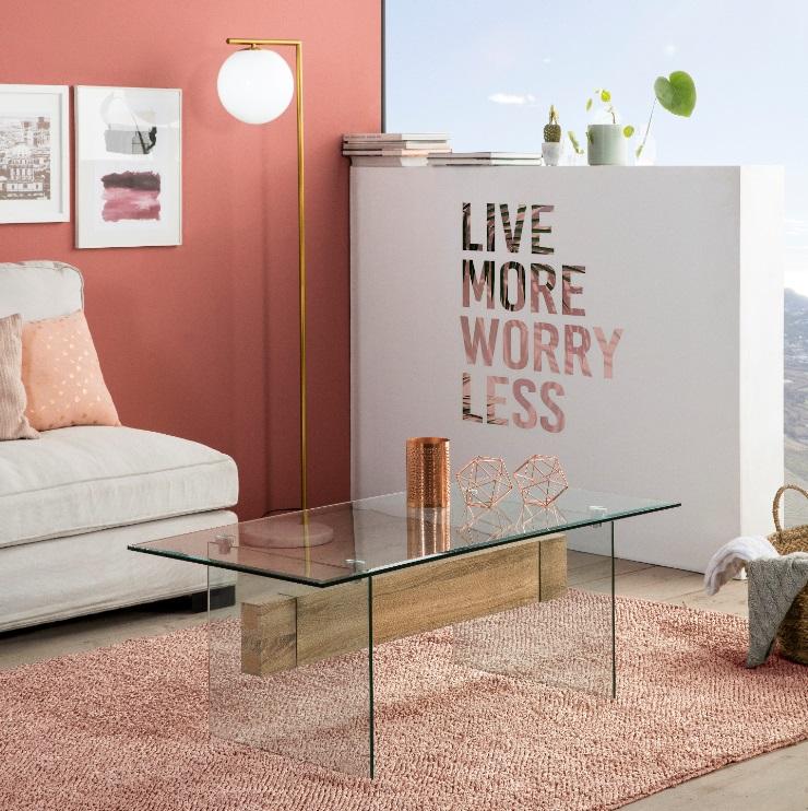Mesa de centro Sidney cristal roble 120x60