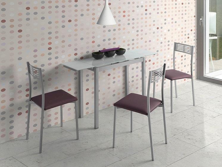 Mesa de cocina extensible Lisboa cristal blanco