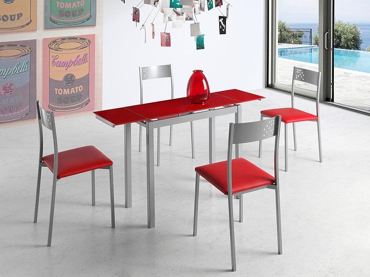 Mesa de cocina extensible Lisboa cristal rojo
