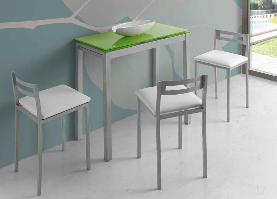 Mesa de cocina extensible Lisboa cristal verde