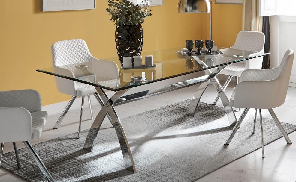 Mesa de comedor acero inox cristal 200x106
