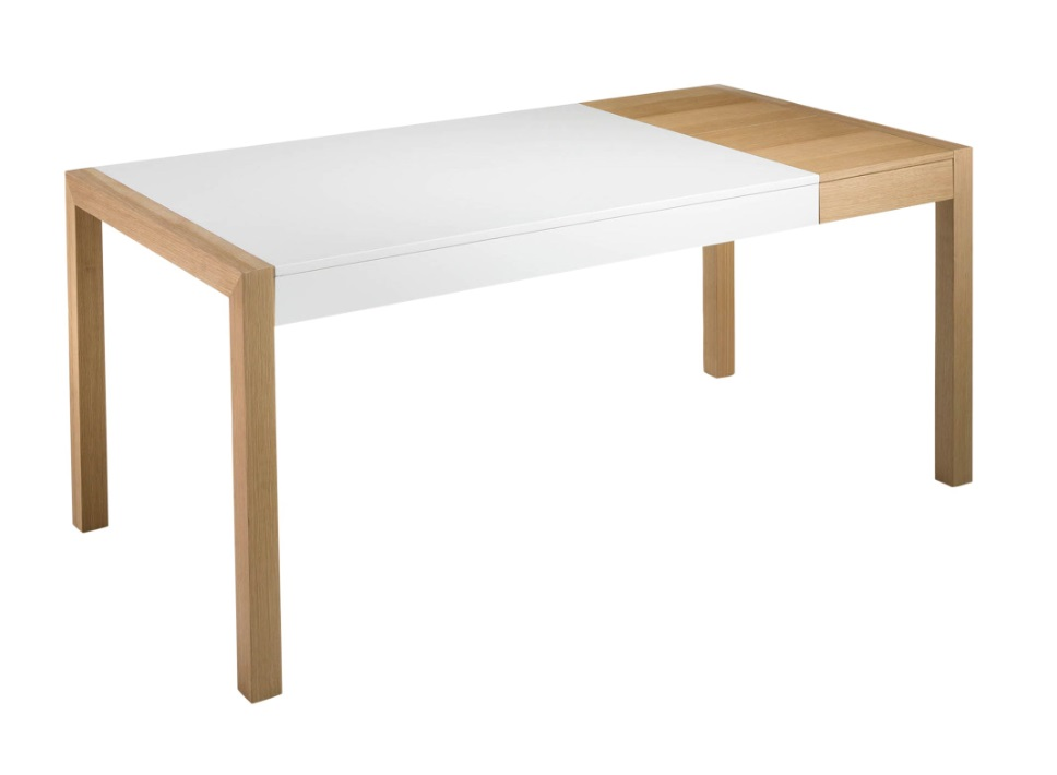 Mesa dover extensible blanco mate roble 140-180x90