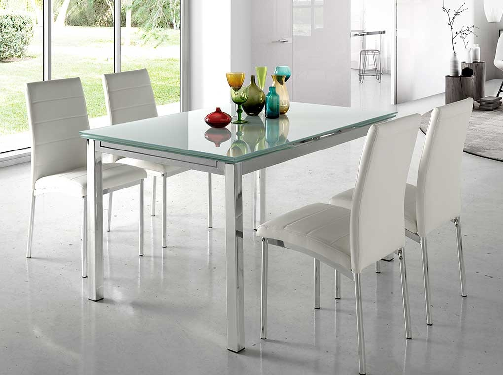 Mesa extensible Bianca cristal blanco cromada 140-220x90