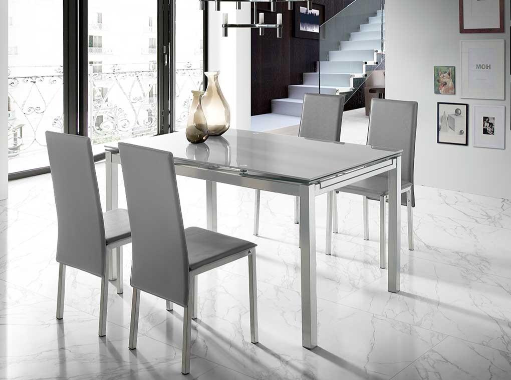 Conjunto de comedor Elena cristal gris sillas gris