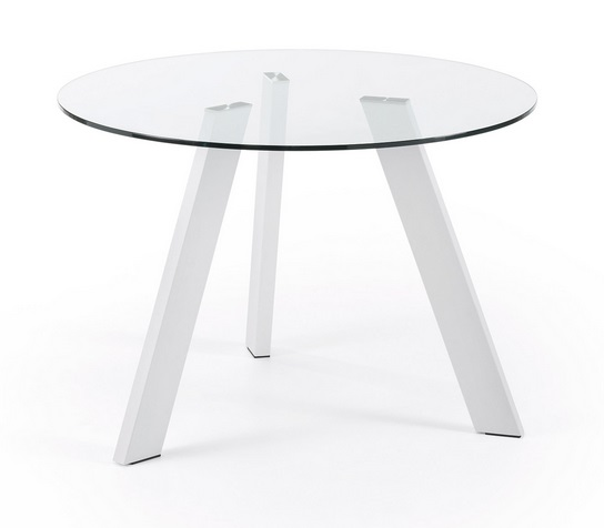 Mesa redonda cristal pies acero blanco 110