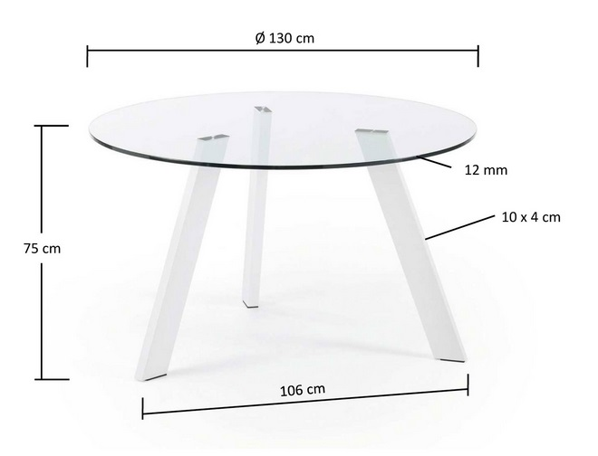 Mesa redonda cristal pies acero blanco 130