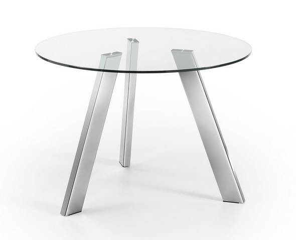 Mesa redonda cristal pies acero inox 130