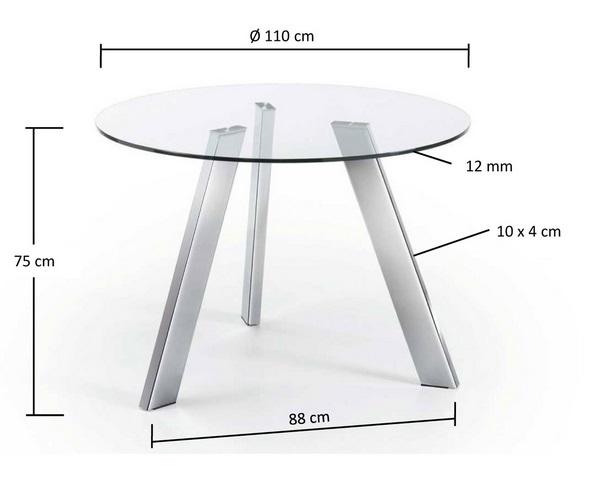 Mesa redonda cristal pies acero inox 110