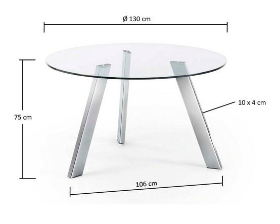 Mesa de comedor redonda cristal pies acero inox 130 - Mesa comedor cristal redonda ...