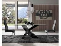 Mesa de comedor X negro 180x100