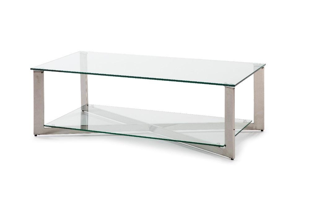 Mesa de centro acero inoxidable cristal 120x60 CT-805
