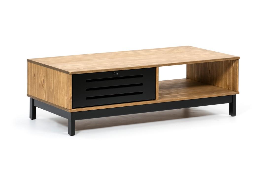 Mesa de centro industrial alessia madera negro mate 100x55 cm