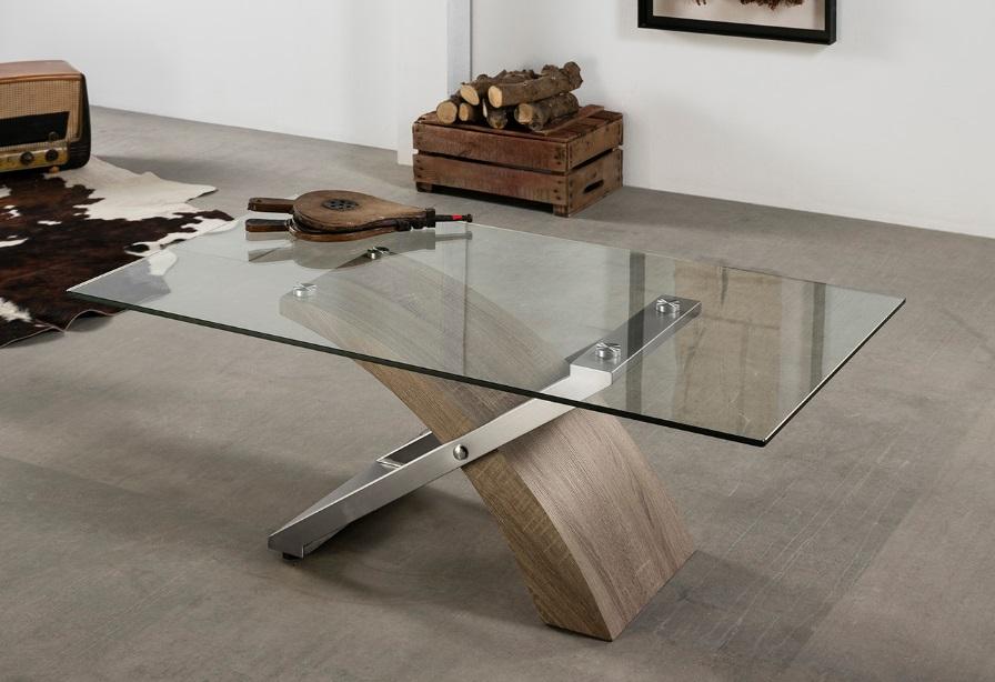 Mesa de centro Aramis roble cristal 120x65