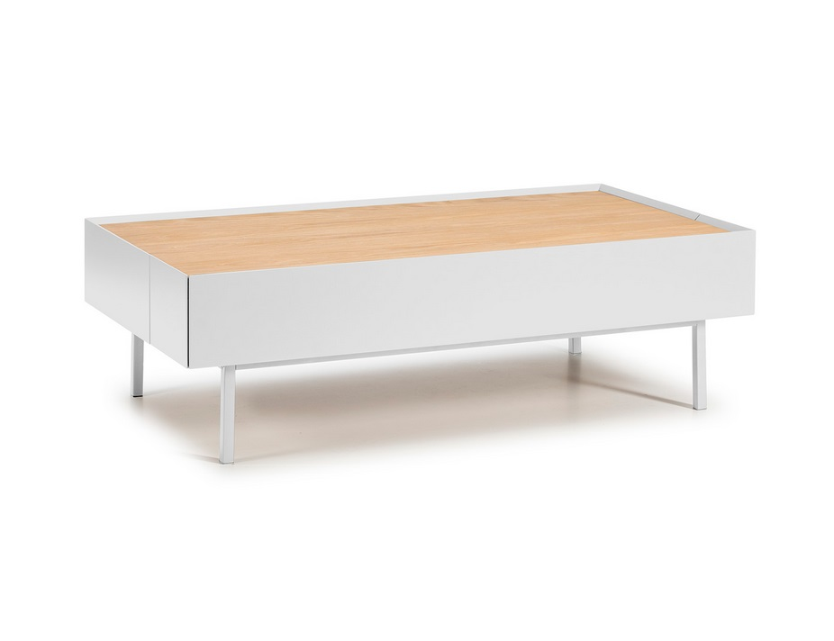 Mesa de centro Arista blanco mate roble 110x60