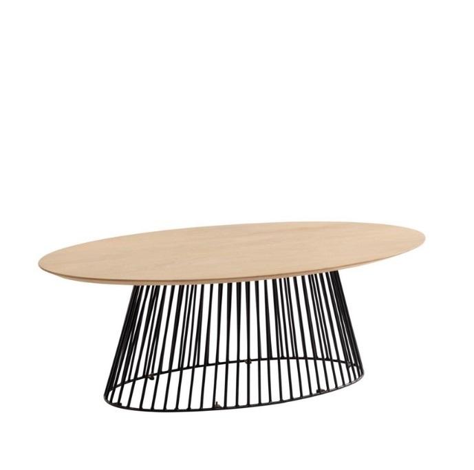 Mesa de centro Art oval madera natural 120x65
