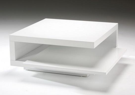 Mesa de centro cuadrada brenda blanco brillo 90x90