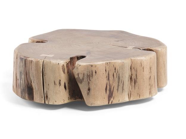 Mesa de centro con ruedas tronco acacia natural 60x65