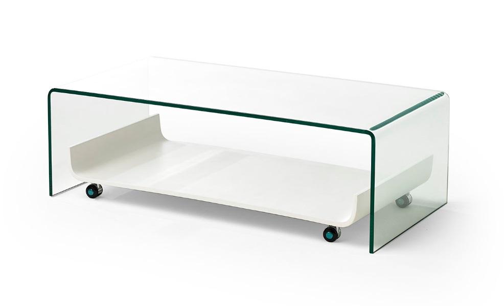 Mesa de centro cristal bandeja con ruedas CT-226