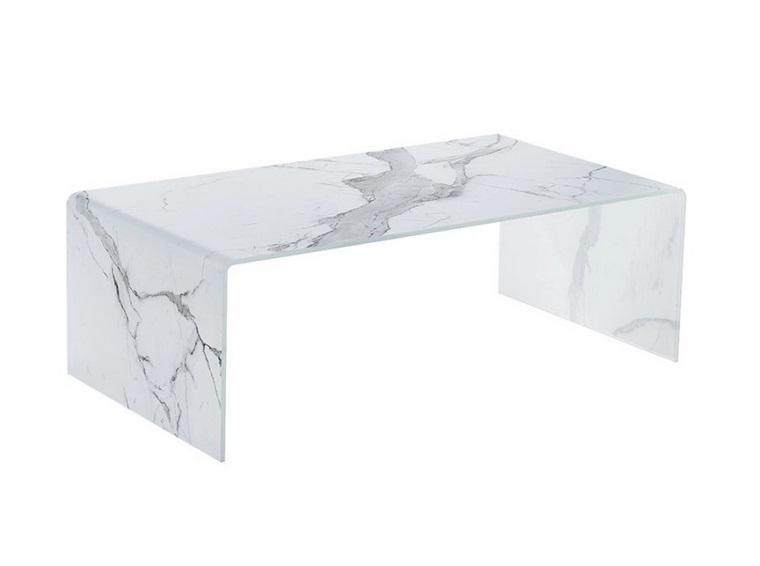 Mesa de centro cristal blanco efecto marmol 110x60