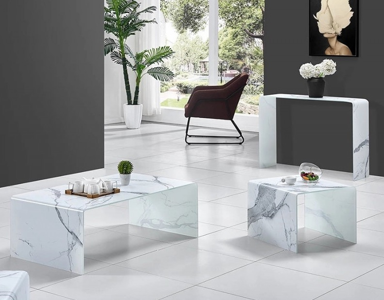 Mesa auxiliar cristal blanco efecto marmol 50x50