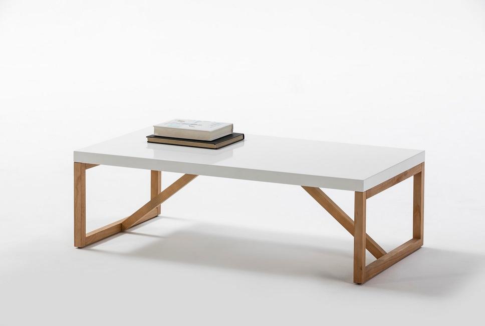 Mesa de centro Galia blanco madera pino 110x60