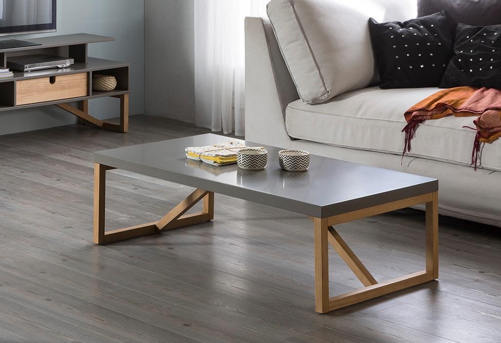 Mesa de centro Galia gris madera pino 110x60