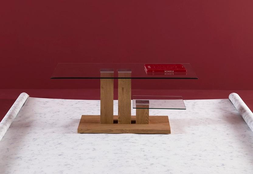 Mesa de centro Leda roble claro cristal 110x60