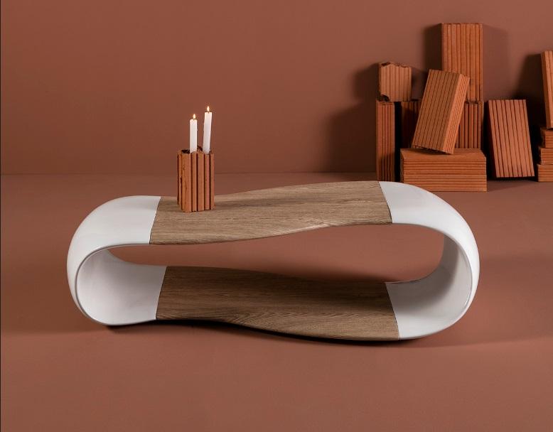 Mesa de centro minimalista blanco roble Noel 120x60