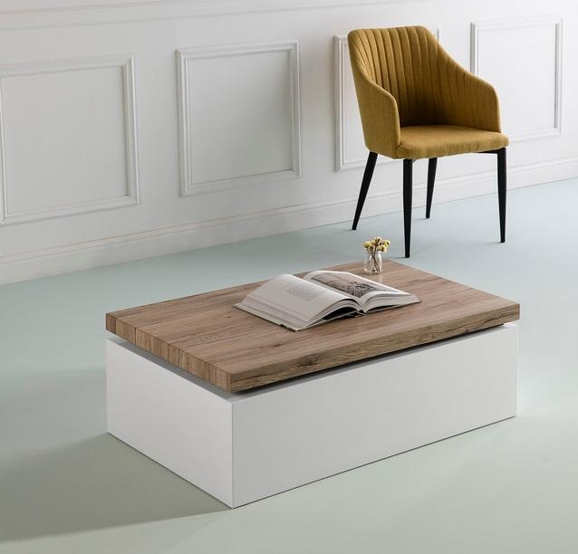 Mesa de centro Helen movible roble blanco brillo 100x60