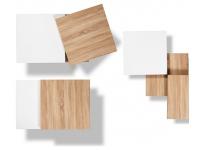 Mesa de centro movible roble blanco 70x70