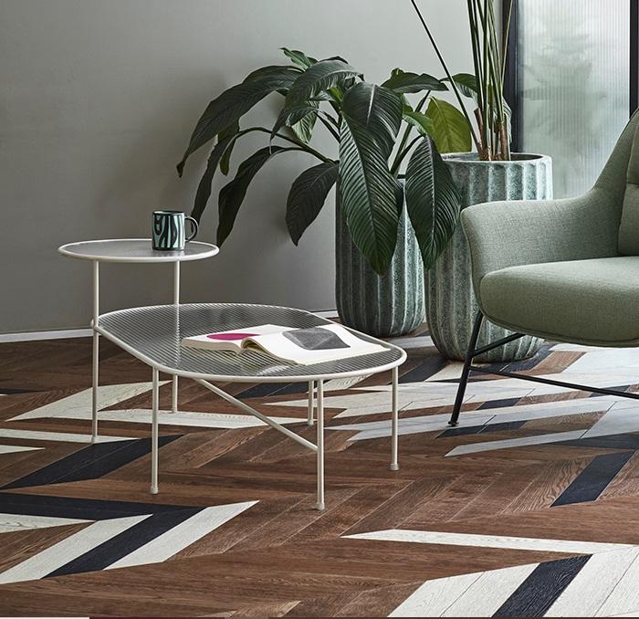 Nix mesa de centro metal crema 126x66