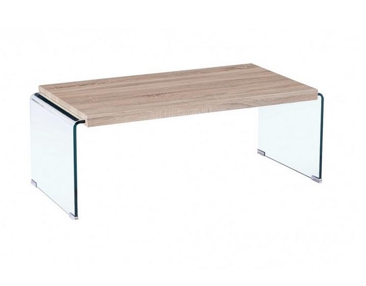 Mesa de centro Oslo cristal curvado madera 110x55