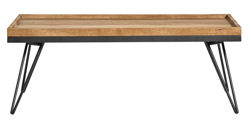 Mesa de centro roble antiguo pie negro Sofia 110x60