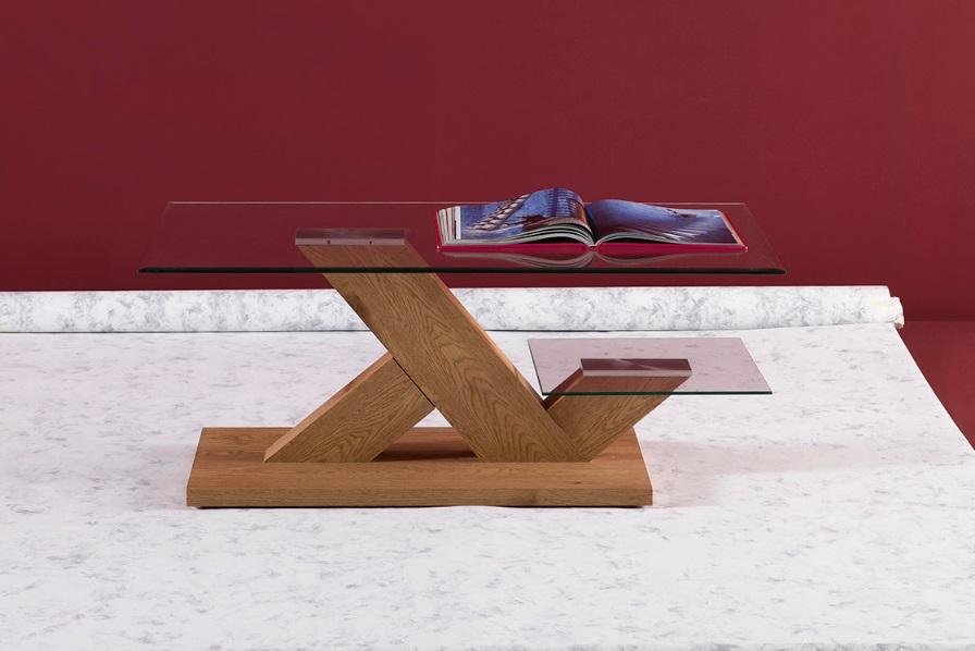 Mesa de centro Clio roble claro cristal 110x60
