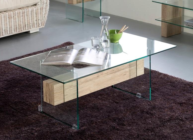 Mesa roble y cristal nadine 110x60