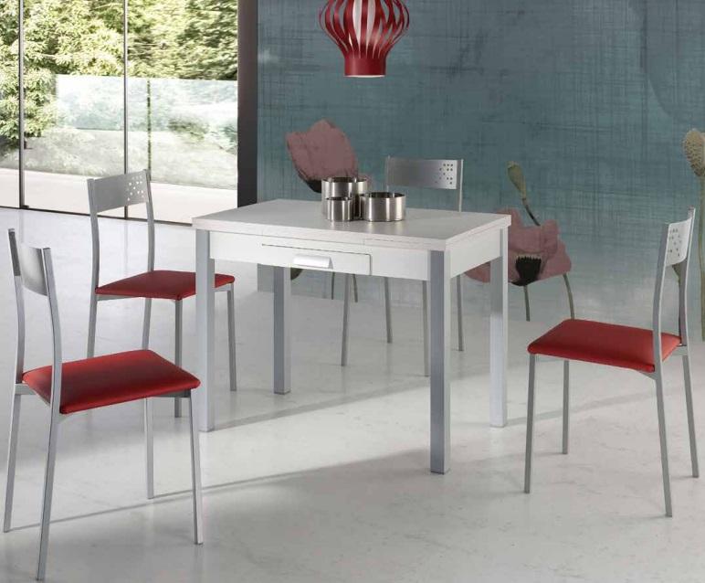 Mesa de cocina extensible Maia blanca 100-160x60 cm