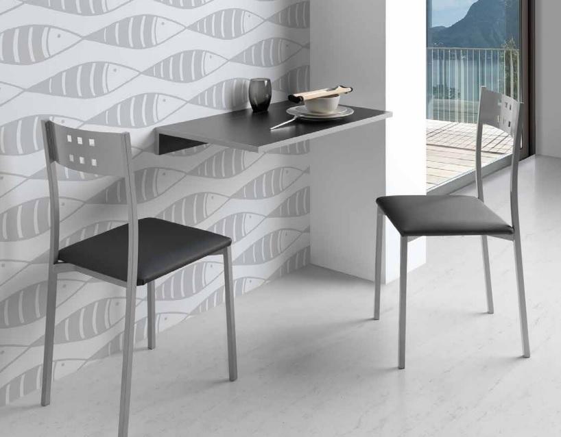Mesa de cocina abatible Prades MDF negra 10-50x80 cm