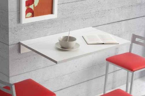 Mesa de cocina abatible Prades MDF blanca 10-50x80 cm
