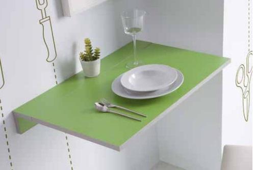 Mesa de cocina abatible Prades MDF verde 10-50x80 cm